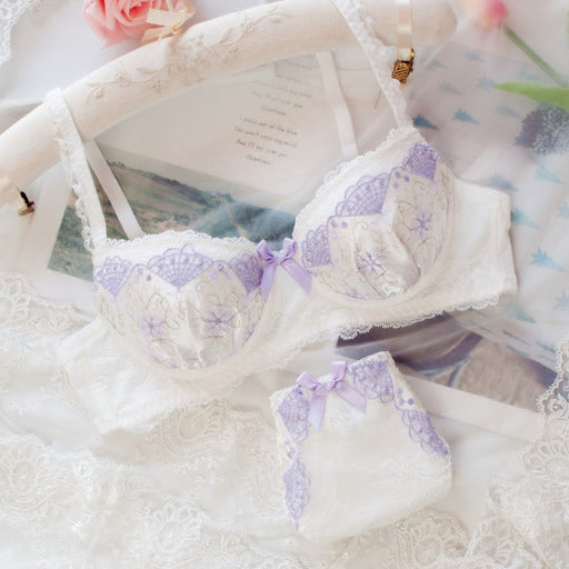 Japanese Dot Flower White Lace Wirefree Cute Sweet Bras And Panty Set