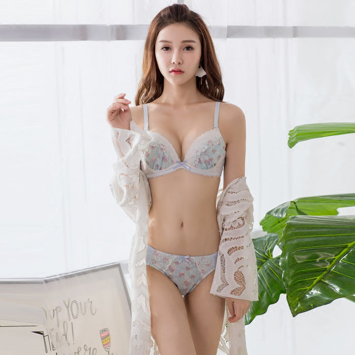 Japanese Flower Blossom Cute Sweetie Push Up Bra Set