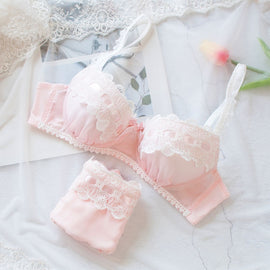 Japanese Spring Flower Comfy Cute Sweetie  Bra Set