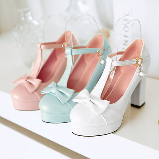 Bow Pink Flower High Heels