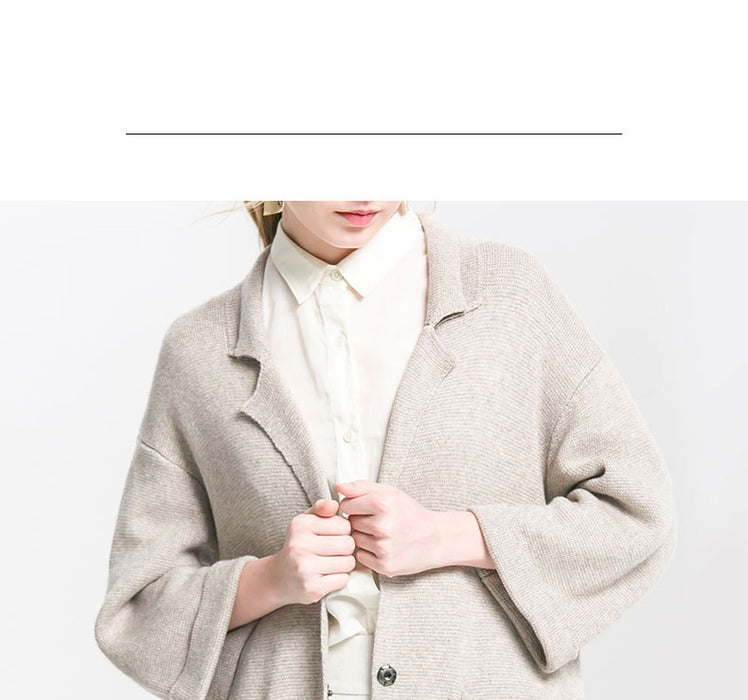 Lapel Collar Knit Button-Down Cardigan