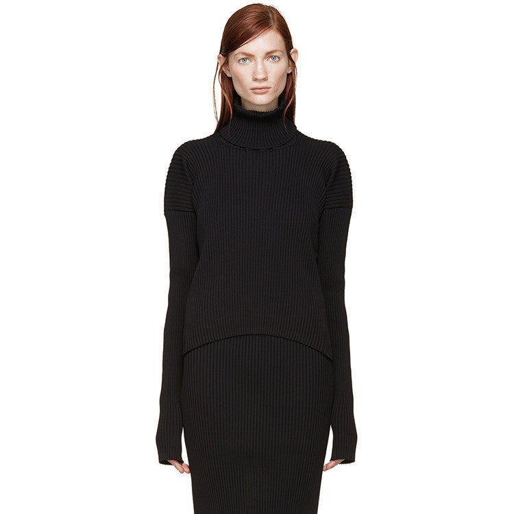 High Neck Fine-Kinit Black Pearl Jumper - sofyee