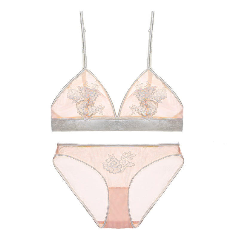 Sheer Mesh Lace Floral Embroidered Bra & Panty Sets
