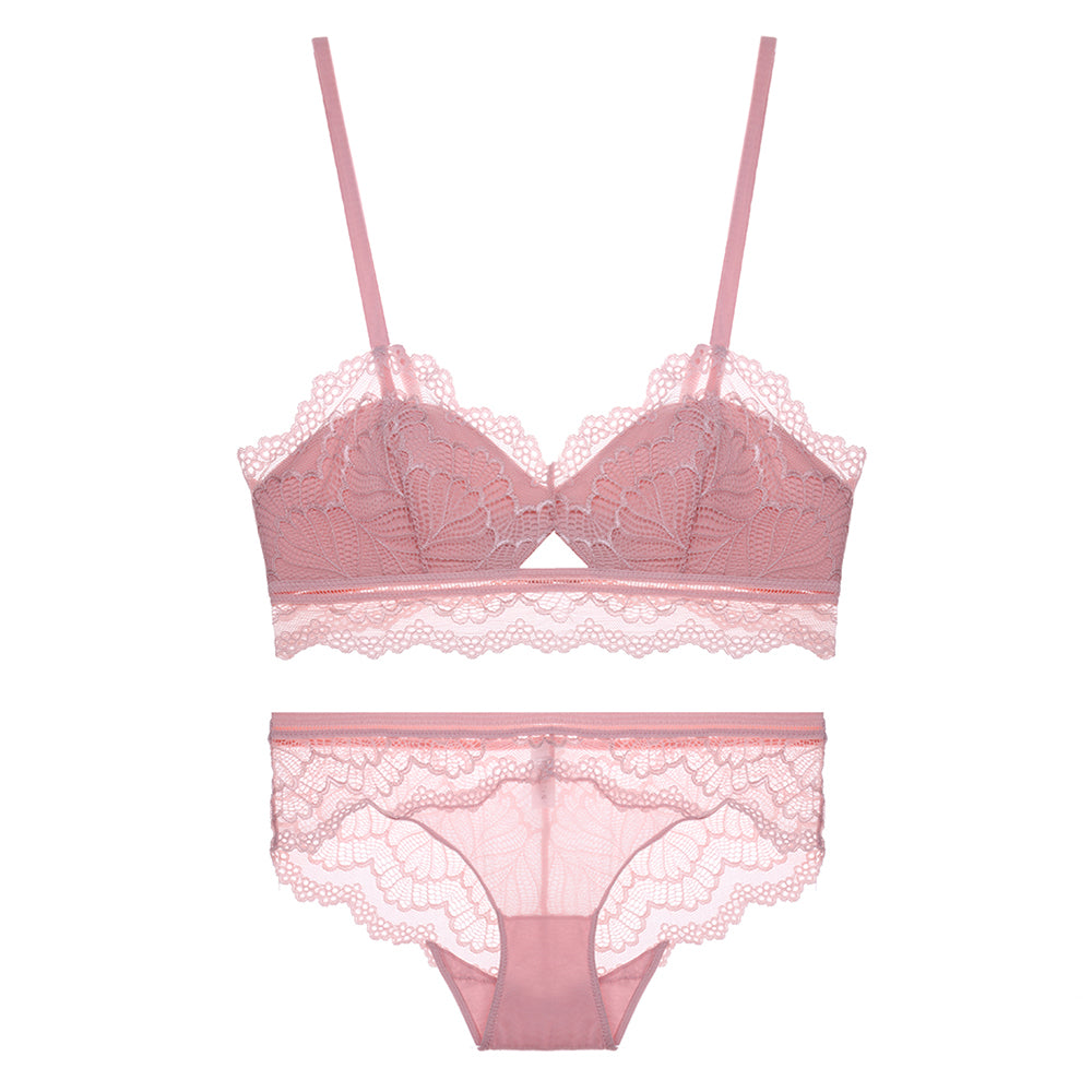 Just Pink Comfy Japanese Lace Cute Soft Cup Bralette Set