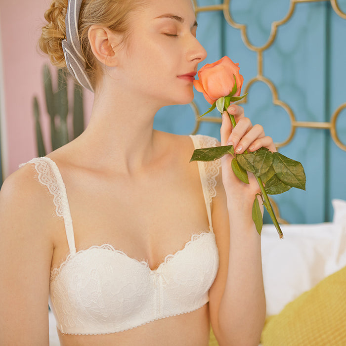 You Need This Sweetie Comfy Japanese Lace Cute Wirefree Soft Cup Bra Set