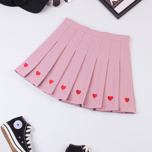 Sweet Line Of Heart Kawaii Aesthetic Pastel Harajuku Skirt