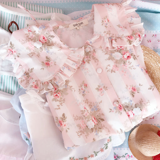 Spring Pink Flower Blooming Babydoll Collar Ruffle Aesthetic Shirt