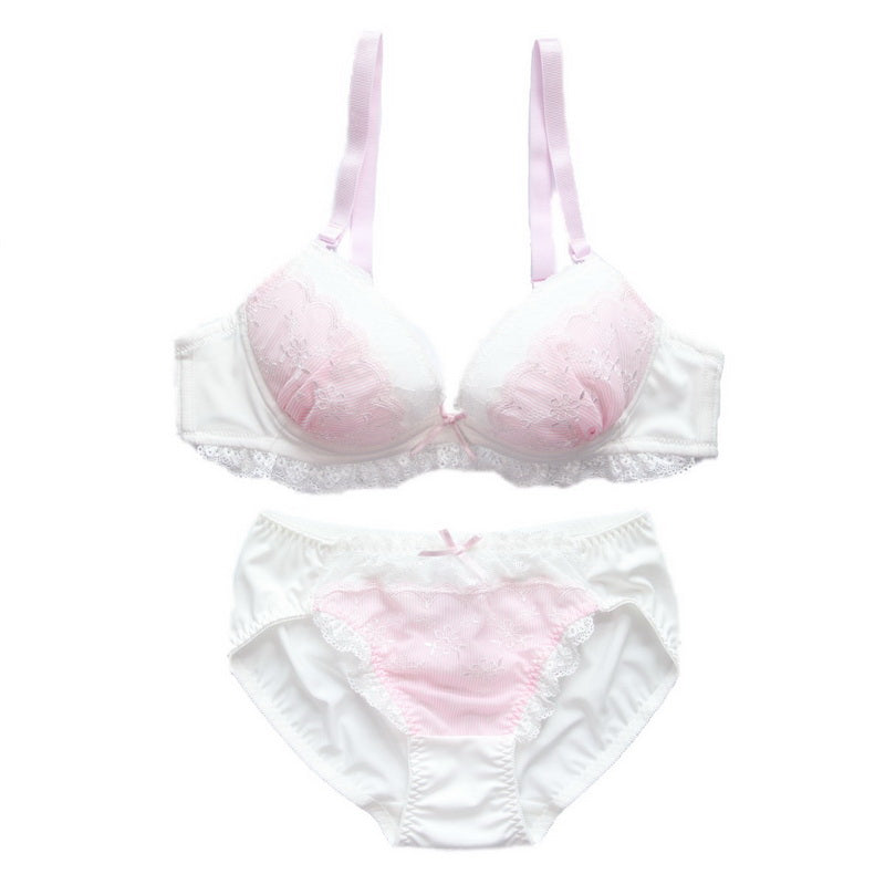 Just Love You Pink Candy Color Floral Japanese Cute Sweet Bras And Panty Set