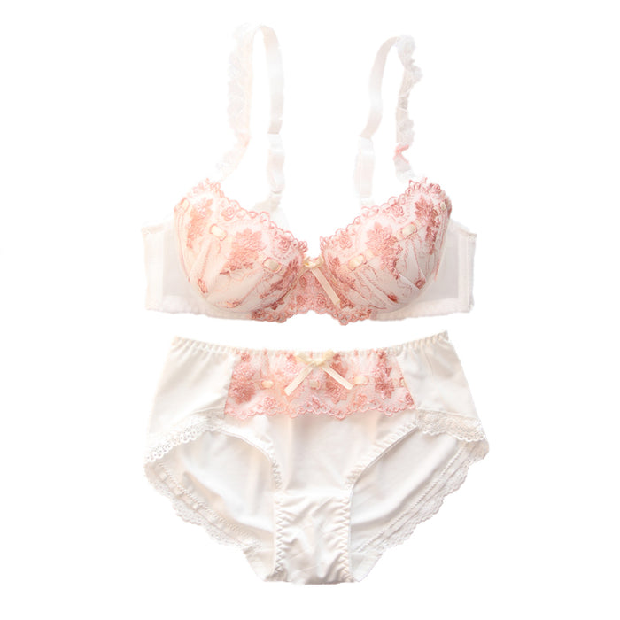 Dot Flower White Lace To Love Cute Sweet Bras And Panty Set