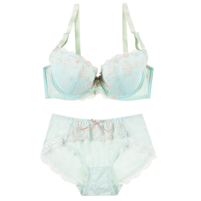 Japanese Spring Flower Blossom Cute Sweetie Push Up Bra Set