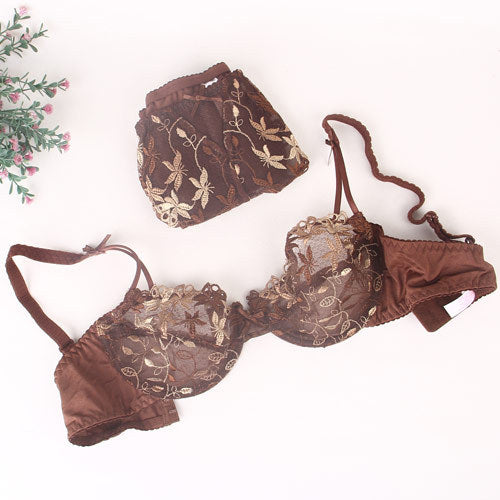 Girly Floral Demi Underwire Bra & Panty Set
