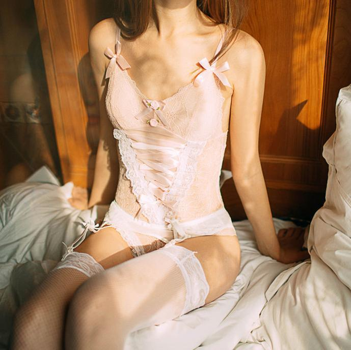 Sexy Kawaii Lace Up Pink Maid Japanese Maid Lingerie