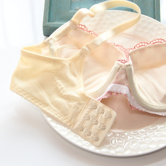 All White Bridal Like Floral Japanese Cute Sweet Bras And Panty Set