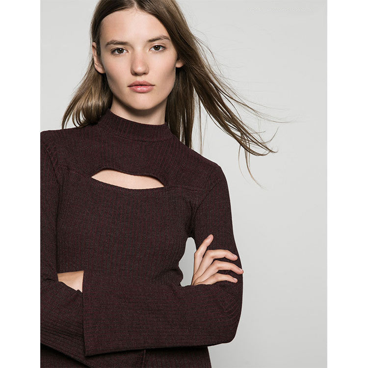 Cut Out Lantern Sleeves Jumper - sofyee