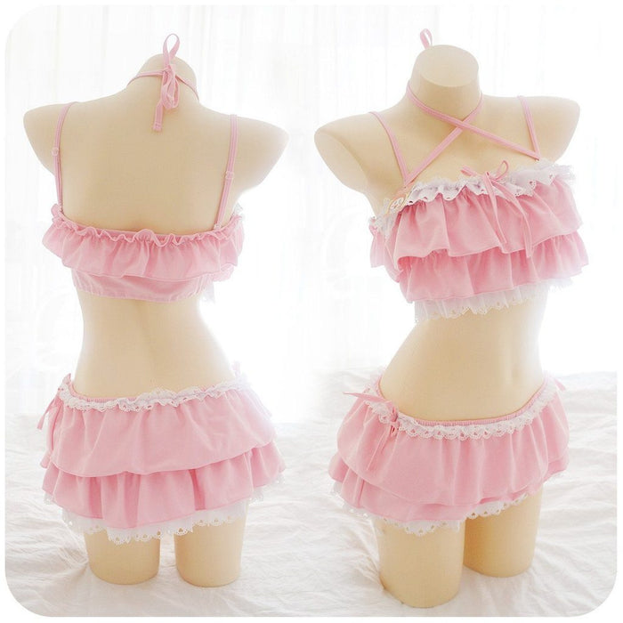 Japanese Cute Ruffle Pink Flower Swimsuit