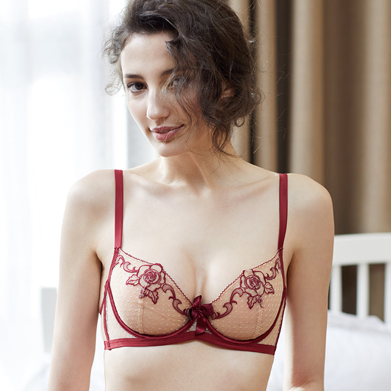 Don't Miss This Rose Embroidered Sheer See Through  Flower Overlaid Demi Bra
