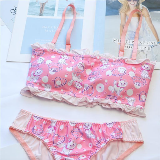 Cartoon Printed Japanese Kawaii Comfy Cute Sweetie Baby Tube Top Lingerie Set