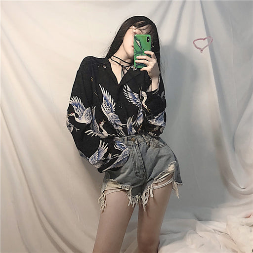 Aesthetic Gothic Kawaii Swan Printed Shirt