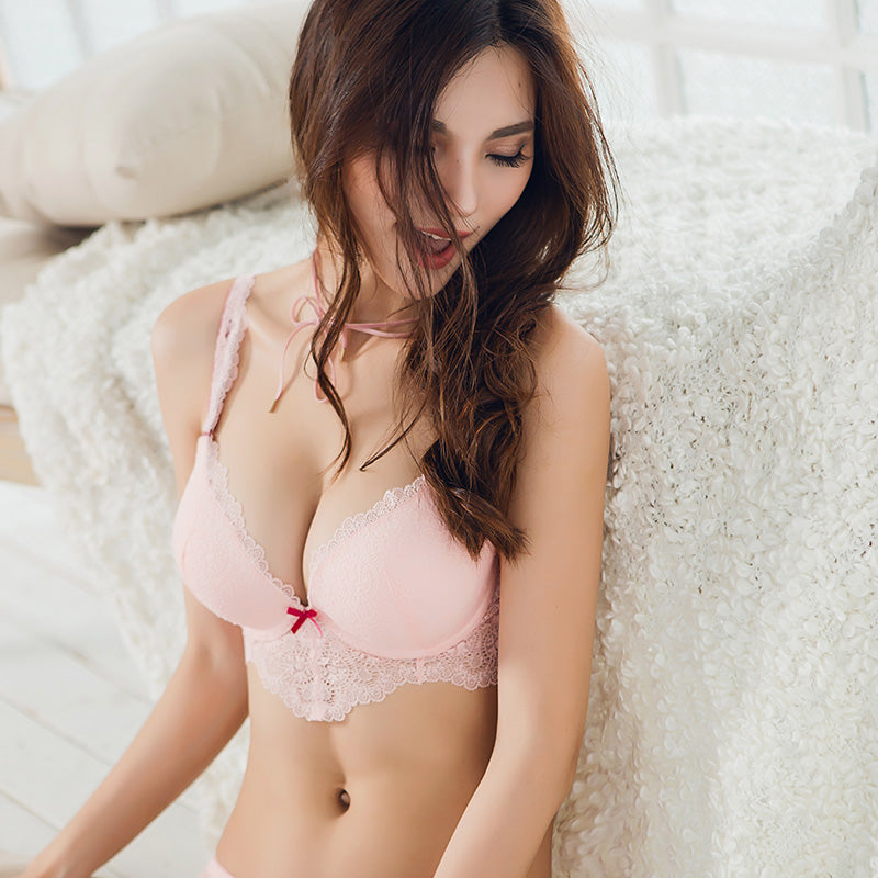 Candy Color Pink Longline Lace Trimmed Bra