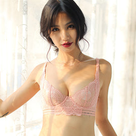 Lace Unlined Demi Bra With Free Panty