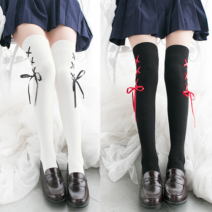 Japanese Lolita Lace Up Thigh High Tights