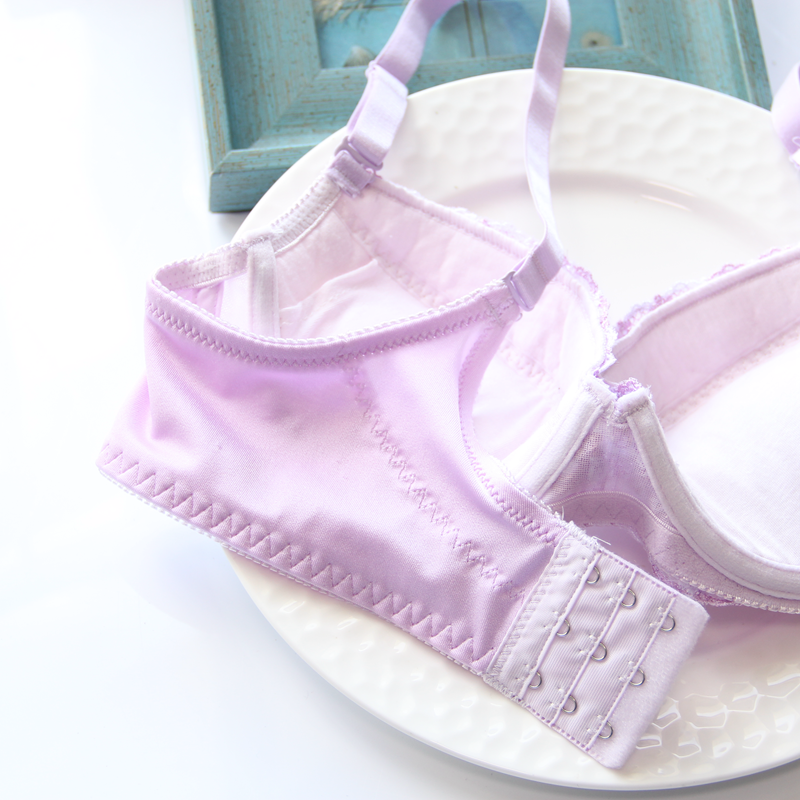 Just Love You Purple Candy Color Floral Japanese Cute Sweet Bras And Panty Set