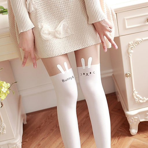 Bunny Cate Neko Kawaii Lolita Lace Up Tights