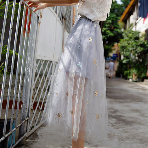 Starring Night Pastel Korean Ruffle Flower Ulzzang Long Skirt