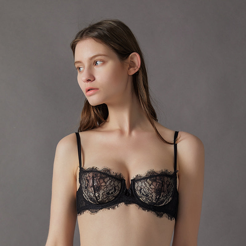 Deadly Flirt All Over lace Floral  See Through Soft-cup Eyelash Bra
