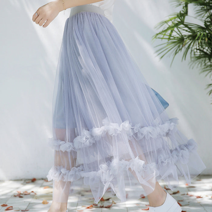 Pastel Korean Ruffle Flower Ulzzang Long Skirt