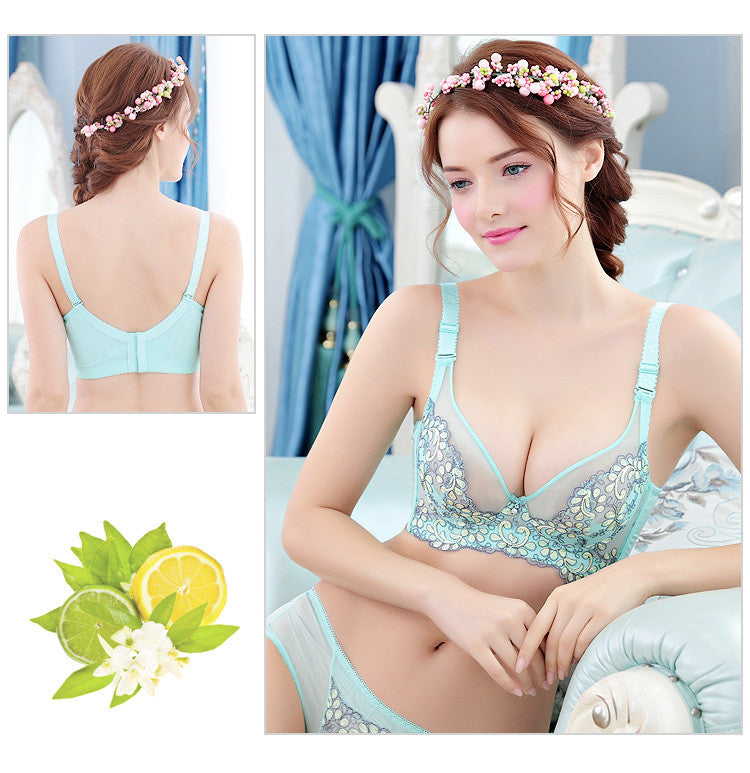 Amour Underwire Floral Embroidery Full Figure Soft Cup - sofyee