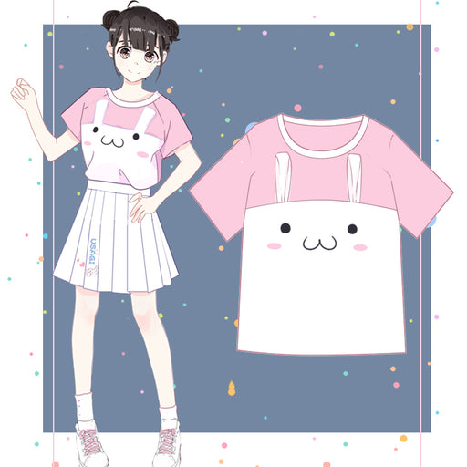 Kawaii Lovely Cat Pink Anime T-Shirt