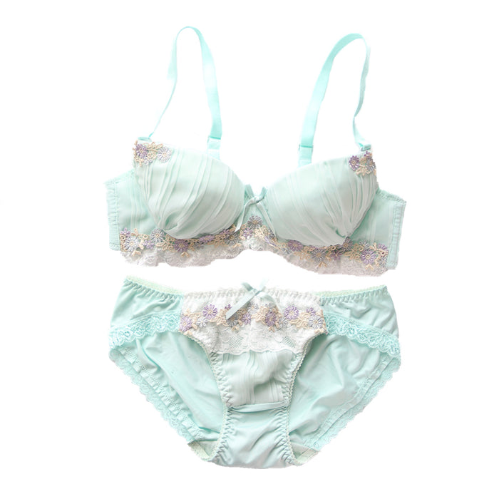Green & Pink Candy Color Floral Japanese Cute Sweet Bras And Panty Set