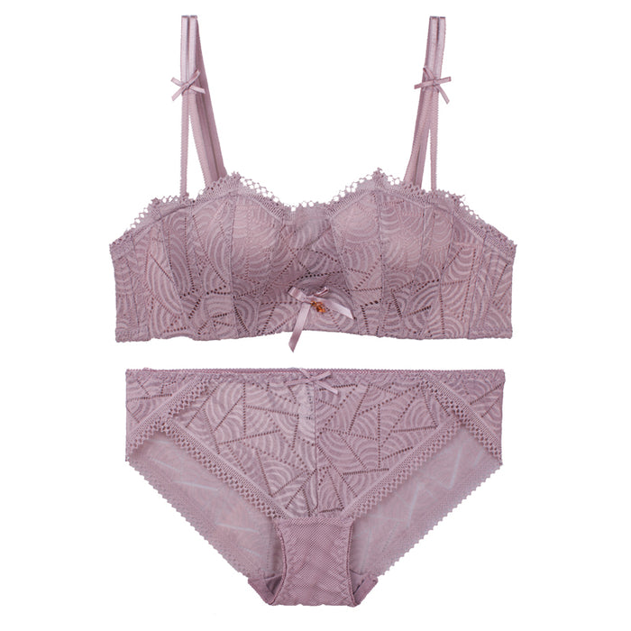 Girly Comfy Japanese Lace Cute Wirefree Soft Cup Bra Set
