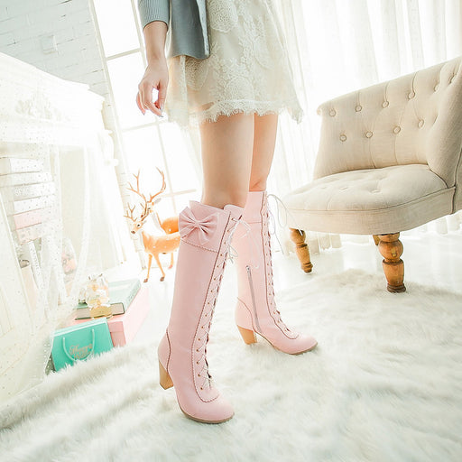Pink Kawaii Pastel Harajuku Flower High Boots
