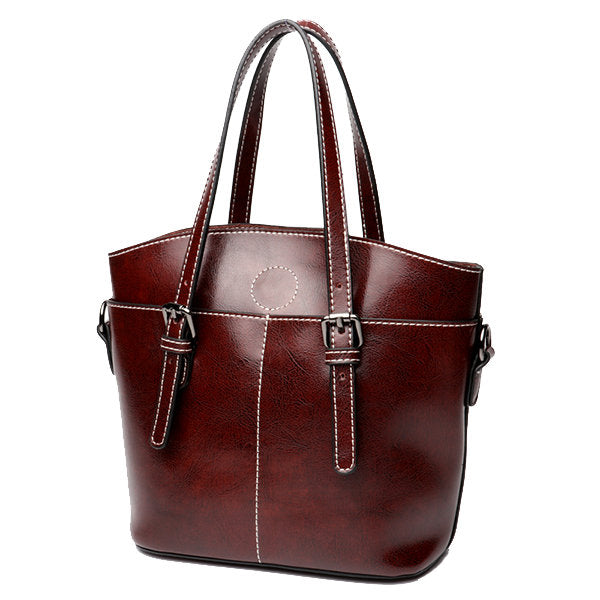 Lady Style Vintage Genuine Leather Solid Handbags Oil Wax Tote Bags