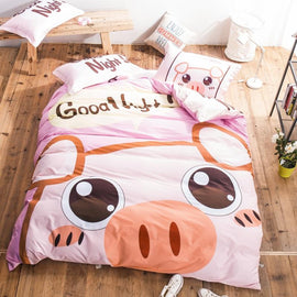 Kawaii 100% Cotton Pink Pig Cartoon Bedding Set Twin Queen King