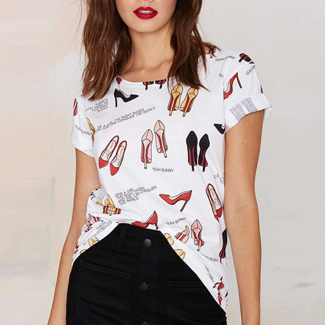 Summer Cute Printed Street Style Casual  Basic T-shirt