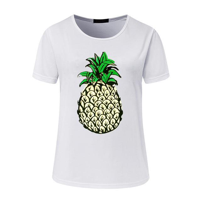 Hello Summer Pineapple Printed O-Neck T-Shirt