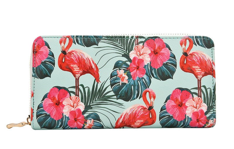 Flamingo Floral Print Fashion Long Purse Large Capacity Clutch Phone Bag PU Leather Ladies Card Holder Wallets