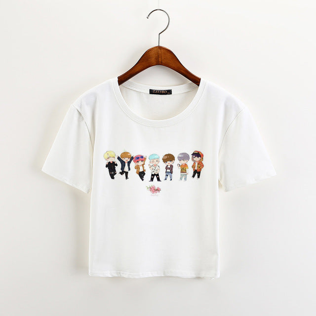 Crop Casual Short Sleeve Cartoon Print Streetwear Tee