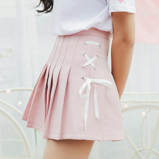 Harajuku Ulzzang Bow Tie Cute Punk Funny Vintage Pleated Skirt Female Cute Japanese Skirts For Women