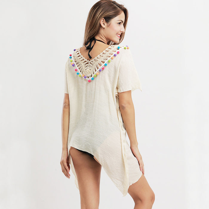 White Beach Tassel Cover Up