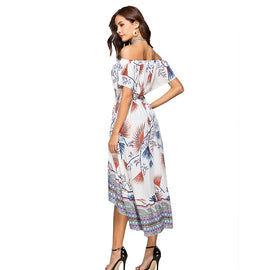 Leaf Printed Bikini Cover up Off-shoulder Beach Dress