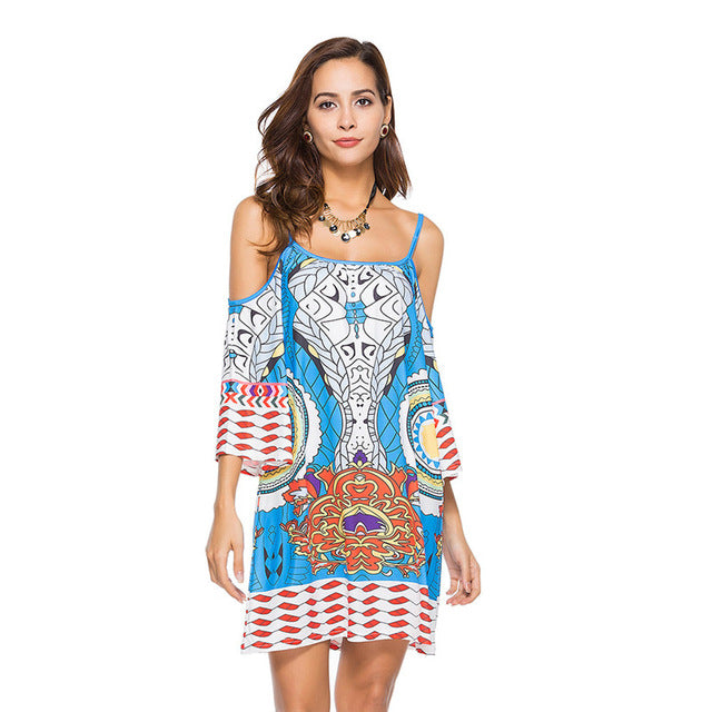 Halter Top Bikini Cover up Printed Beachwear Pareo Sexy Cover-up Beach Dress