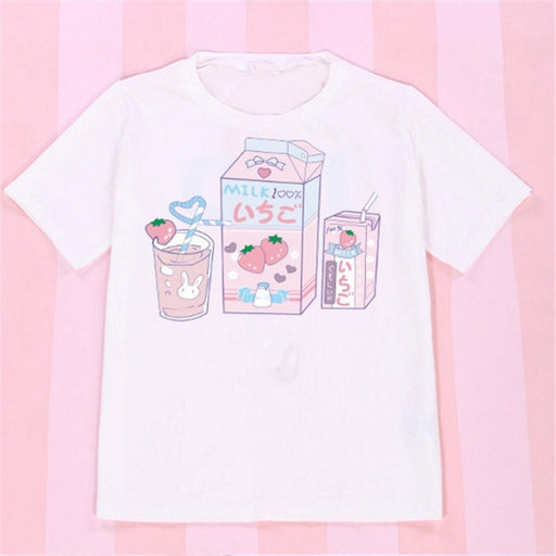 Aesthetic Anime Kawaii Pastel Strawberry Milk Box Vadim Tee