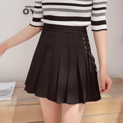 Summer New Fashion Solid Denim Pleated Skirt Harajuku Lace-Up Hight Waist Casual Sexy Micro Mini Skirts