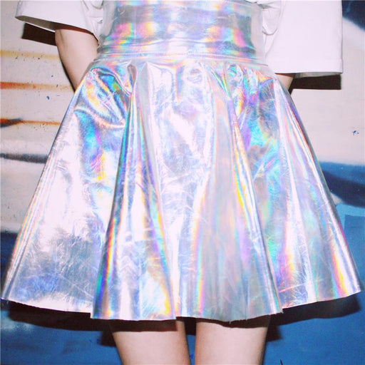 Ulzzang Vintage Harajuku Fluorescence Metal Silver Skirts 2018 Female Shiny Psychedelic Laser High Waist PU Puff Skirts