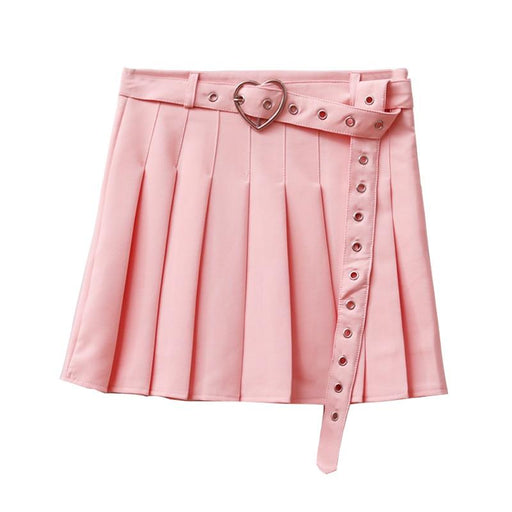 Harajuku Women Japanese Cute Slim Joker Skirts High Waist Loving Heart Ring Belt Pleated Skirts