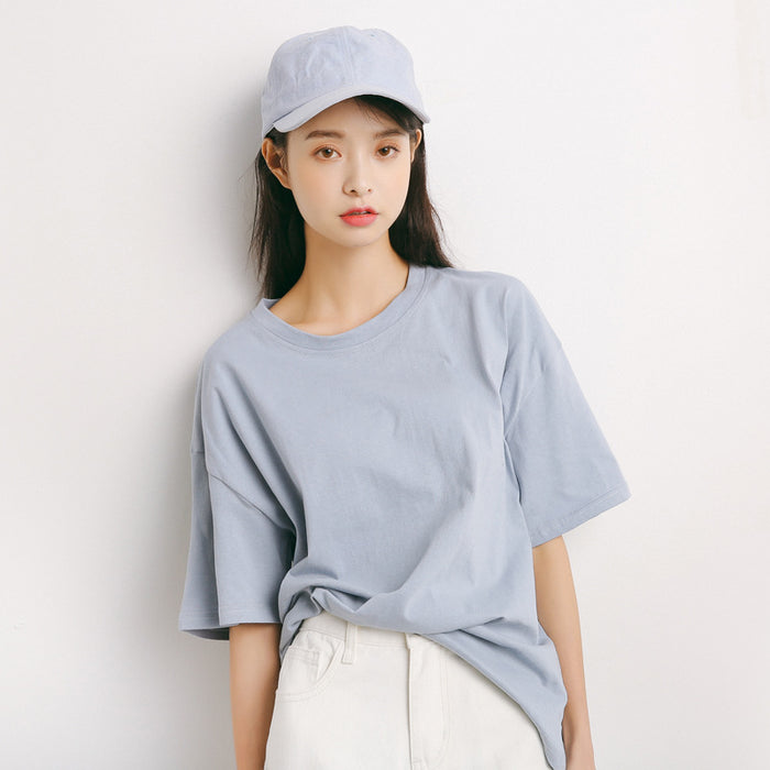 Summer Loose T-Shirts  Solid Color Short Sleeve O-neck Cotton T-Shirt